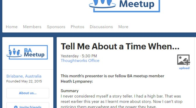 Tell Me About A Time When … I Presented on Storytelling to the Brisbane BA Meetup