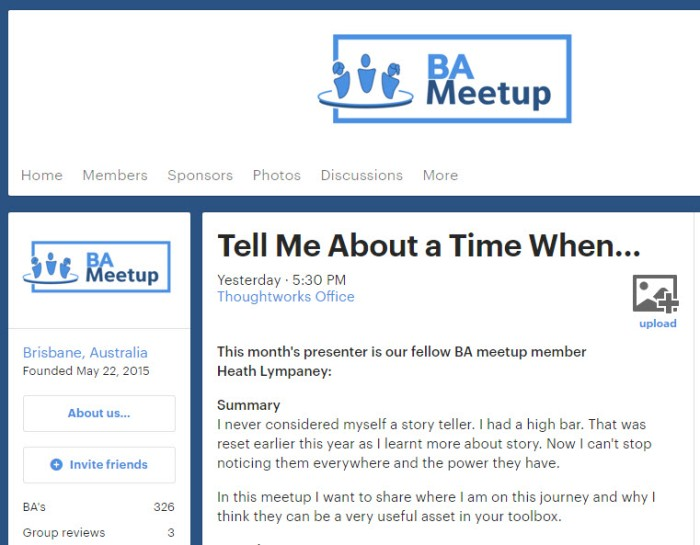 Tell Me About A Time When … I Presented on Storytelling to the Brisbane BAMeetup